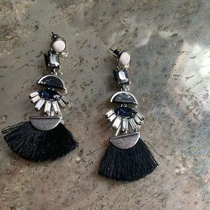 Chloe + Isabel Black Fringe Statement earrings